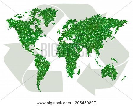 Ecology world map. Texture grass. Green sign of recycling. Vector illustration  isolated on white background. Symbol of careful attitude to the environment, eco-friendly goods, eco travel. Horizontal.