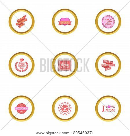 Mom day icons set. Cartoon style set of 9 mom day vector icons for web design