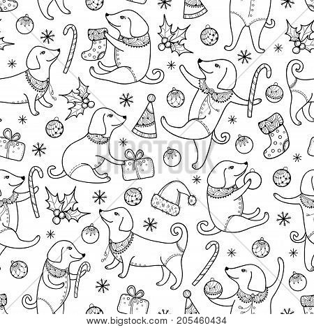 Vector seamless pattern with outline dog in black on the white background. Symbol of Chinese New Year 2018 in contour style. Ornate dogs and decoration for winter holiday design and coloring book.