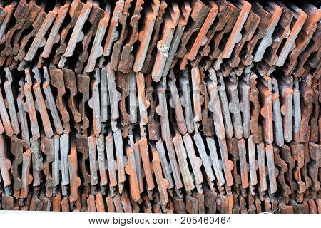 Old Clay Ceramic Roofing Tile Stacked