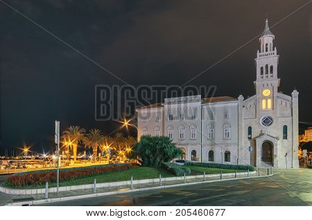 Croatia. Evening view In church and monastery of St. Frane Split. Lovely Franciscan church with a tower and an old Monastery. Valuable sacral Roman and Baroque works.