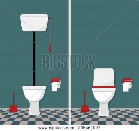 Toilet retro and modern. Toilet, toilet paper and brush. Vector illustration