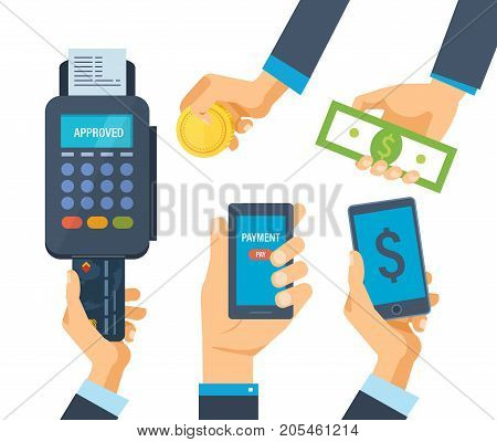 Pos terminal for financial transactions. Operation on payment. Credit card payment at pos terminal. Hands hold phone with an attachment, cash money, and coins. Vector illustration.