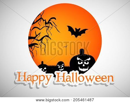 illustration of pumkin faces, bat and tree with happy Halloween text on the occasion of Halloween