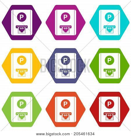 Parking fee icon set many color hexahedron isolated on white vector illustration