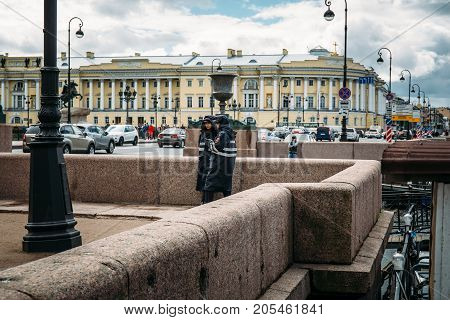 St. Petersburg, Russia - Circa June 2017: Girls in police uniform on the embankment of St. Petersburg