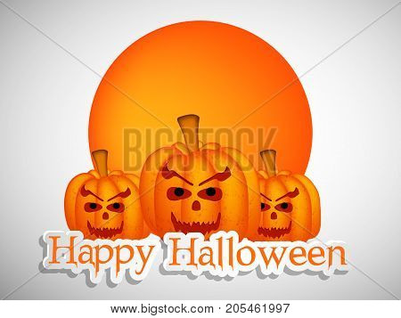 illustration of pumpkin faces with happy Halloween text on the occasion of Halloween