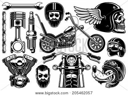 Set of 12 monochrome elements of motocycle (VERSION ON WHITE BACKGROUND). Isolated text is on the separate layer.