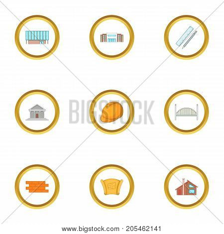 Architecture item icons set. Cartoon style set of 9 architecture item vector icons for web design