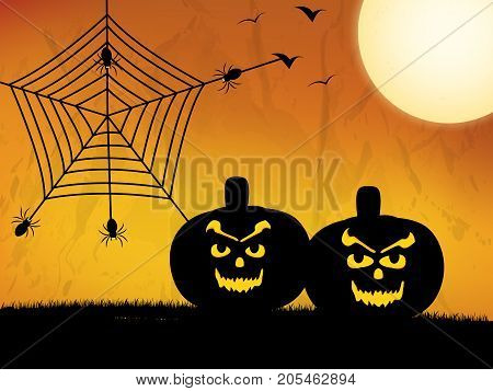 illustration of pumpkin faces, moon, spiders and web on the occasion of Halloween