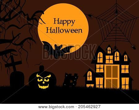 illustration of bat, cross, building and pumpkin face with happy Halloween text on the occasion of Halloween