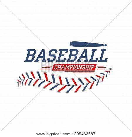 Baseball Background. Baseball Ball Laces, Stitches Texture With Bat. Sport Club Logo, Poster Design