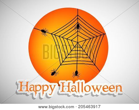 illustration of spiders and web with happy Halloween text on the occasion of Halloween