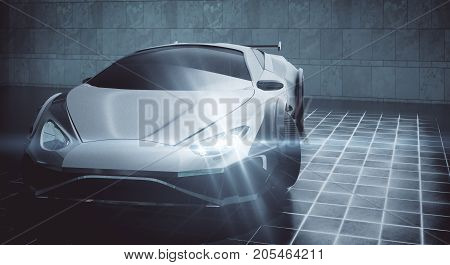 Modern Sports Car With Glowing Headlights