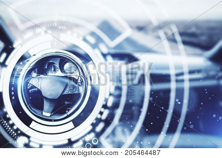 Abstract car interior with digital hologram around wheel. Technology concept. 3D Rendering