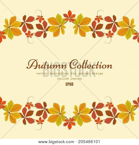 Seasonal fall background, vector  autumn frame with border of yellow chestnut leaves