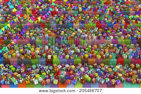 Gift large group cube shelves party 3d illustration colorful horizontal background