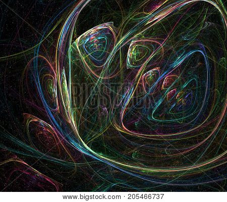 Space fantasy rainbow color anomaly abstract dark background horizontal