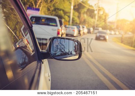 car on the road in summer / soft focus picture / Vintage concept