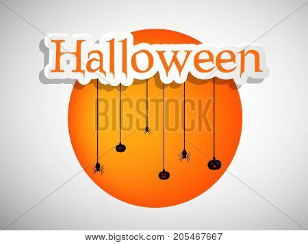 illustration of hanging spider and pumpkins with Halloween text on the occasion of Halloween