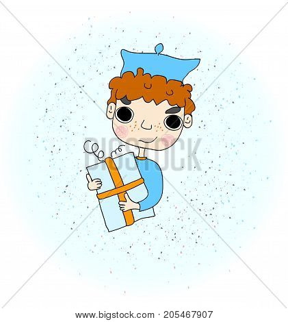 Illustration of a Boy Holding a Gift in a Beautifully Wrapped Box