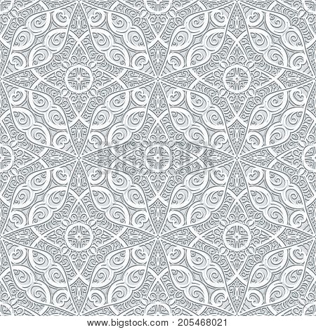 Swirly lace texture, abstract grey ornament, seamless vector pattern in neutral color