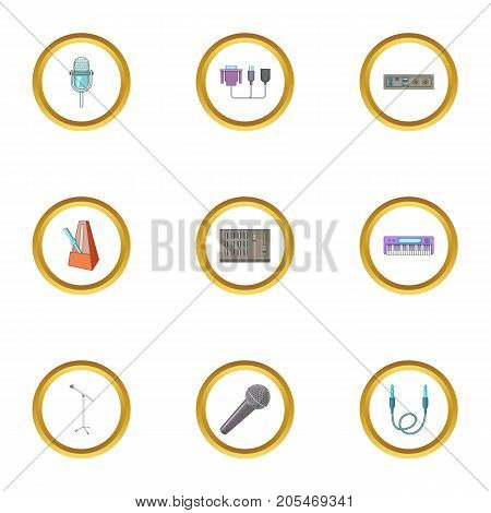 Sound producing icons set. Cartoon style set of 9 sound producing vector icons for web design