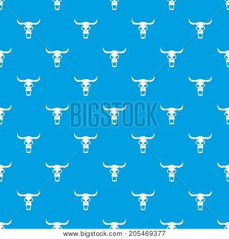 Buffalo skull pattern repeat seamless in blue color for any design. Vector geometric illustration