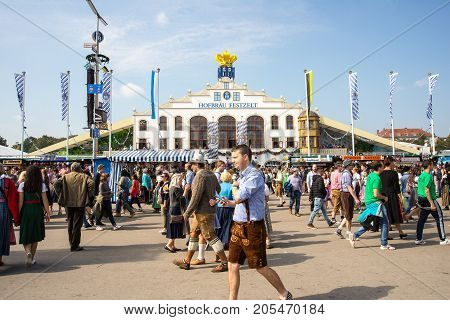 MunichGermany-September 242017: Crowds walk on the Oktoberfest grounds