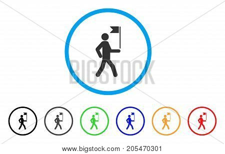 Guide Man With Flag rounded icon. Style is a flat guide man with flag grey symbol inside light blue circle with black, gray, green, blue, red, orange variants.