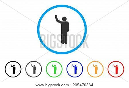 Hello Pose rounded icon. Style is a flat hello pose gray symbol inside light blue circle with black, gray, green, blue, red, orange versions. Vector designed for web and software interfaces.
