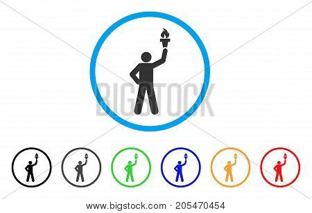 Leader With Freedom Torch rounded icon. Style is a flat leader with freedom torch grey symbol inside light blue circle with black, gray, green, blue, red, orange versions.