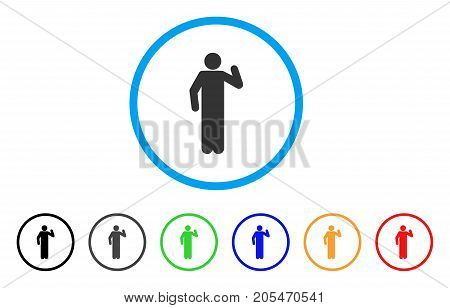 Opinion Pose rounded icon. Style is a flat opinion pose grey symbol inside light blue circle with black, gray, green, blue, red, orange color versions. Vector designed for web and software interfaces.