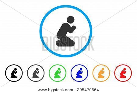 Pray Pose rounded icon. Style is a flat pray pose grey symbol inside light blue circle with black, gray, green, blue, red, orange variants. Vector designed for web and software interfaces.