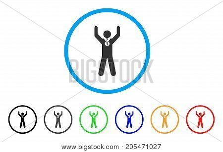 Winner Hands Up rounded icon. Style is a flat winner hands up gray symbol inside light blue circle with black, gray, green, blue, red, orange color versions.