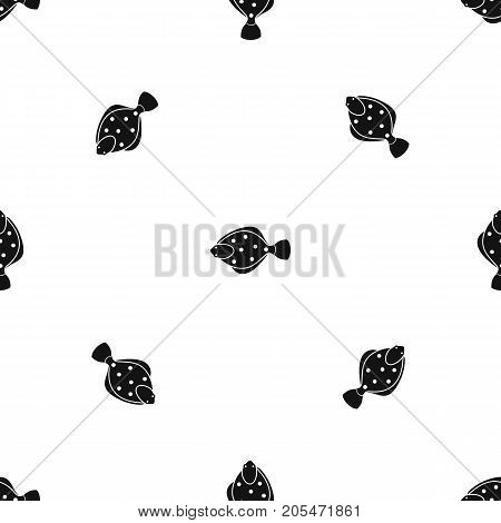 Flounder fish pattern repeat seamless in black color for any design. Vector geometric illustration