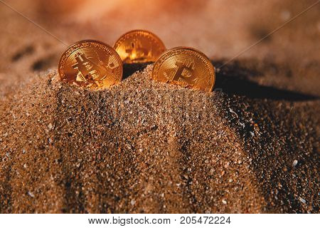 Bitcoin on golden sand, in background sun light. Concept freelancing
