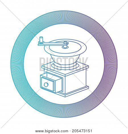 logo shield circular decorative of coffee grinding with cranks gradient color silhouette from blue to purple vector illustration