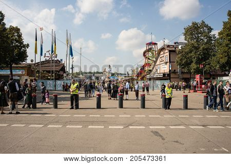 MunichGermany-September 242017: Security measures at one of the entrances to the Oktoberfest .