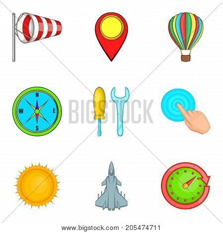 Non-flying weather icons set. Cartoon set of 9 non-flying weather vector icons for web isolated on white background