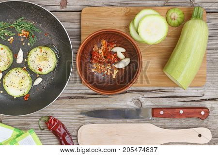 Healthy Eating, Vegetarian Food. Raw Zucchini Prepared For Frying In A Frying Pan With Spices, Garli