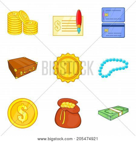 Splendor icons set. Cartoon set of 9 splendor vector icons for web isolated on white background