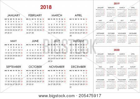 Calendar for 2018, 2019, 2020 years on white background. Week starts monday