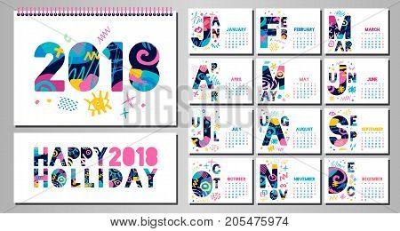 Wall Monthly Calendar template 2018. Horizontal monthly calendar template. White background. Weeks start on sunday. Hand drawn vector elements, lettering.