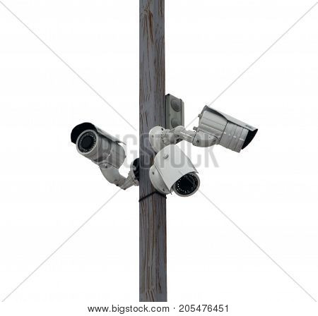 three outside security cameras cover multiple angles