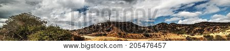 Los Angeles CA USA - October 28 2016: Hollywood sign under a dramatic sky