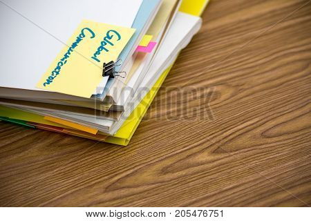 Global Communication; The Pile Of Business Documents On The Desk