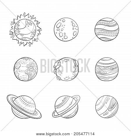 Set of isolated stylized planets. Cartoon planets hand drawn sketch style. Sun, mars and venus, earth, saturn with rings.