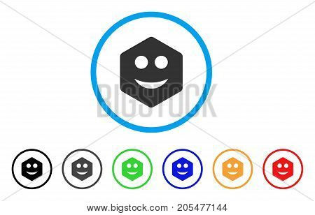 Hexagon Smile Smiley rounded icon. Style is a flat hexagon smile smiley gray symbol inside light blue circle with black, gray, green, blue, red, orange color versions.