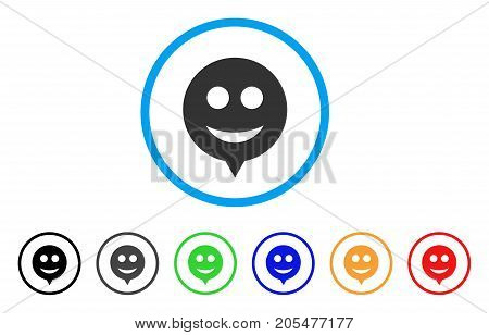 Hint Smile rounded icon. Style is a flat hint smile gray symbol inside light blue circle with black, gray, green, blue, red, orange variants. Vector designed for web and software interfaces.